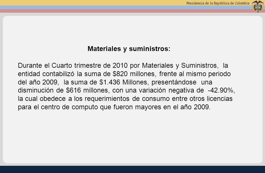 Presidencia de la República de Colombia Mantenimiento: Durante el Cuarto trimestre de 2010 por Mantenimiento, la entidad contabilizó la suma de $239 millones, frente al mismo periodo del año 2009, la suma de $540 Millones, presentándose una disminución de $301 millones, con una variación negativa de -55.67%, la cual obedece que en el año 2009 se realizo mantenimiento a los bienes de la entidad, para el buen funcionamiento en el nivel Central y de las Oficinas de Registro.