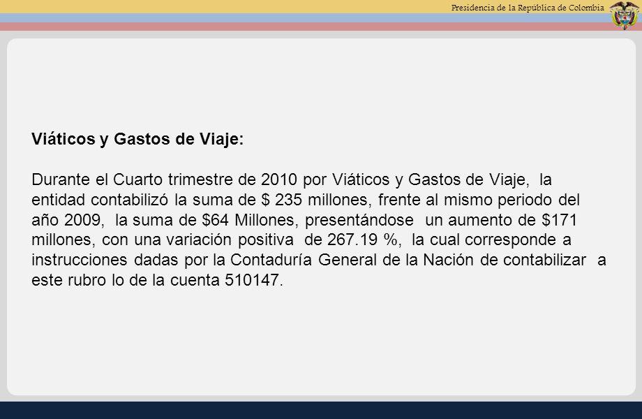 Presidencia de la República de Colombia Fotocopias: Durante el Cuarto trimestre de 2010 por Fotocopias, la entidad contabilizó la suma de $ 3 millones, frente al mismo periodo del año 2009, la suma de $ 9 Millones, presentándose una disminución de $6 millones, con una variación negativa de -65.66%, la cual corresponde a la adquisición de fotocopiadoras para el Nivel Central y las Oficinas de Registro.