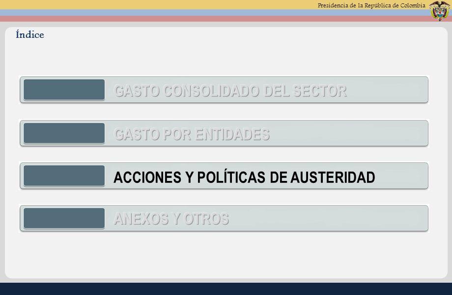 Presidencia de la República de Colombia ACCIONES Y POLÍTICAS DE AUSTERIDAD Índice
