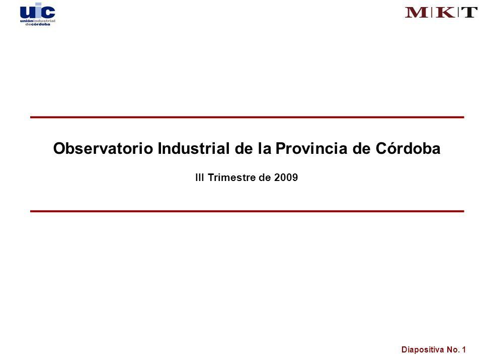 Diapositiva No. 1 Observatorio Industrial de la Provincia de Córdoba III Trimestre de 2009