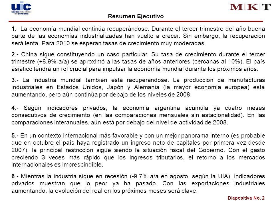 Diapositiva No. 2 Resumen Ejecutivo 1.- La economía mundial continúa recuperándose.