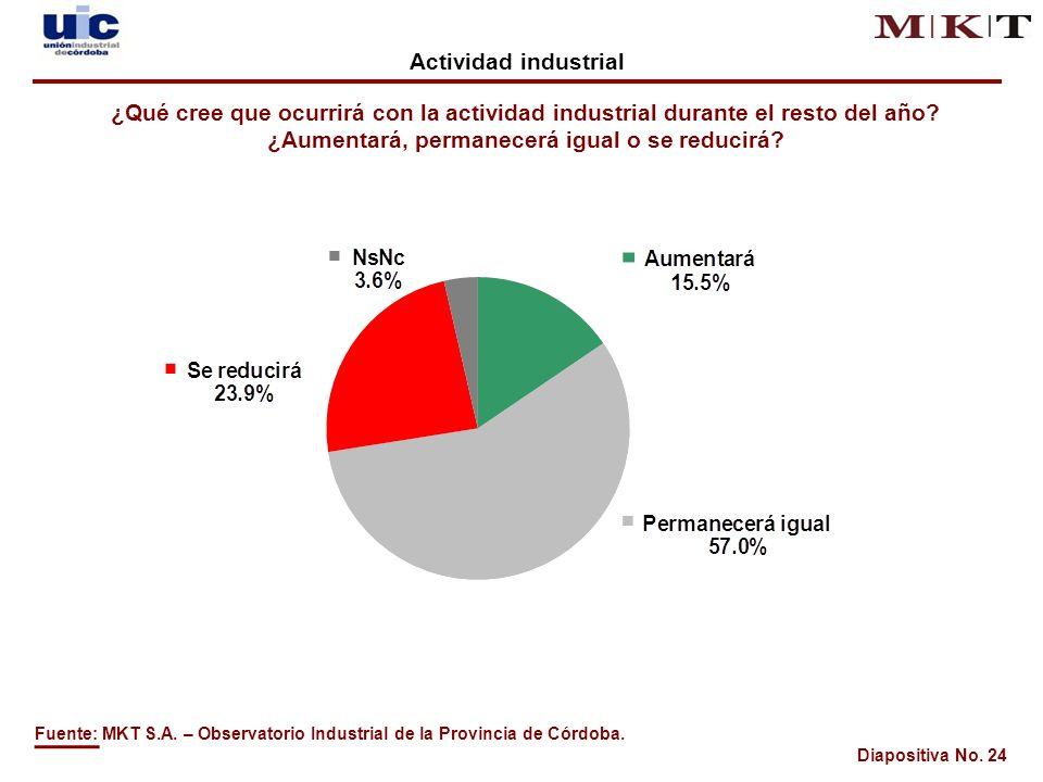 Diapositiva No. 24 ¿Qué cree que ocurrirá con la actividad industrial durante el resto del año.