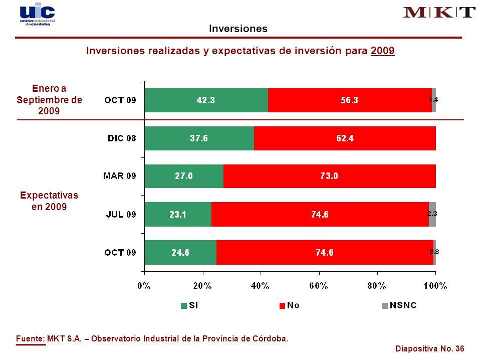 Diapositiva No. 36 Inversiones realizadas y expectativas de inversión para 2009 Fuente: MKT S.A.