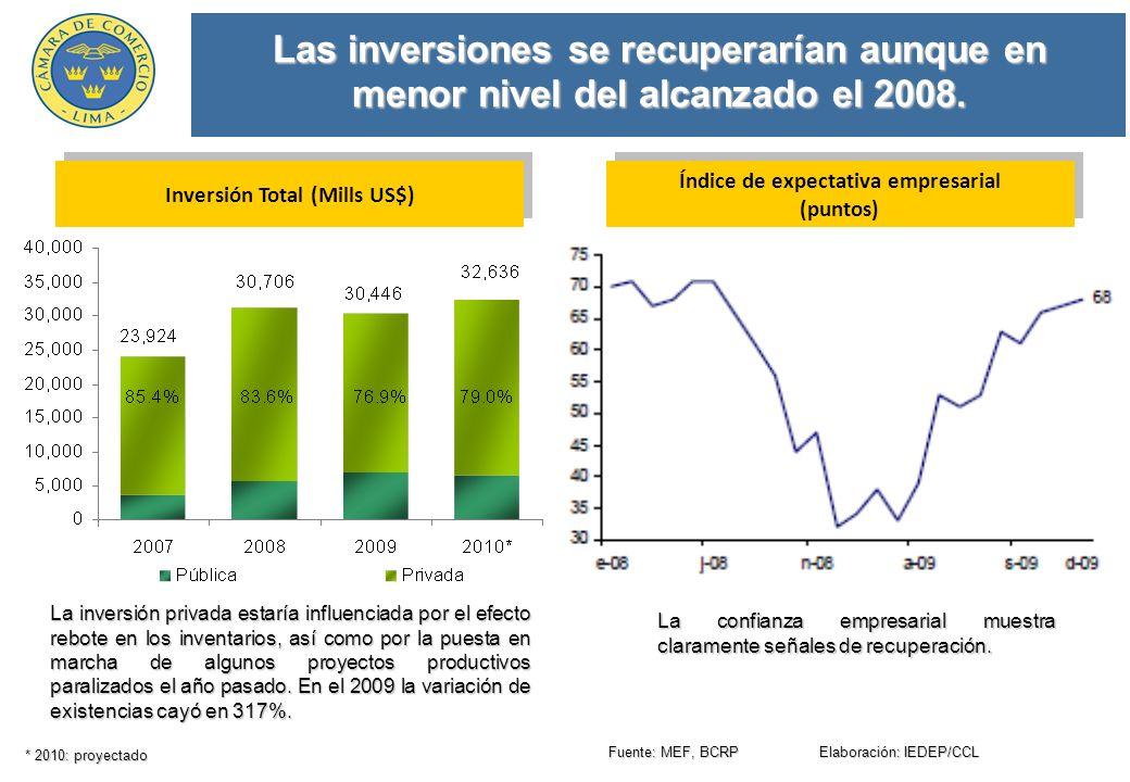 Las inversiones se recuperarían aunque en menor nivel del alcanzado el 2008.