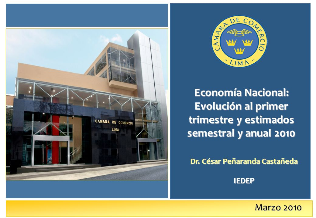 Marzo 2010 Economía Nacional: Evolución al primer trimestre y estimados semestral y anual 2010 Dr.