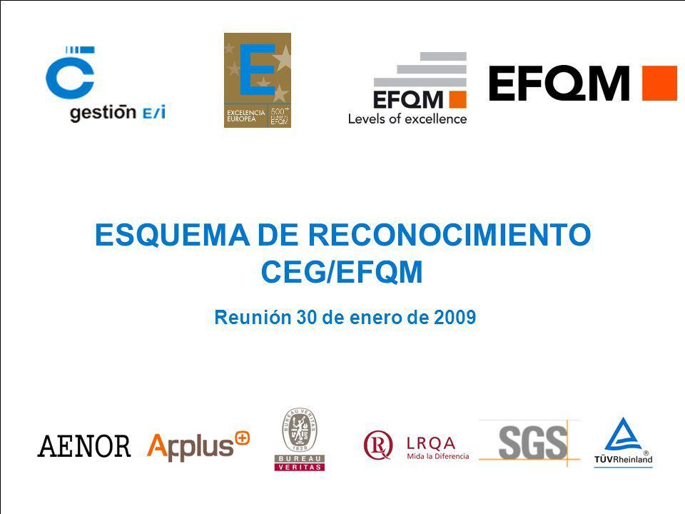 ESQUEMA DE RECONOCIMIENTO CEG/EFQM Reunión 30 de enero de 2009