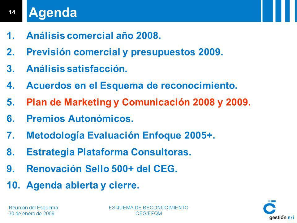 Reunión del Esquema 30 de enero de 2009 ESQUEMA DE RECONOCIMIENTO CEG/EFQM 14 Agenda 1.Análisis comercial año 2008.