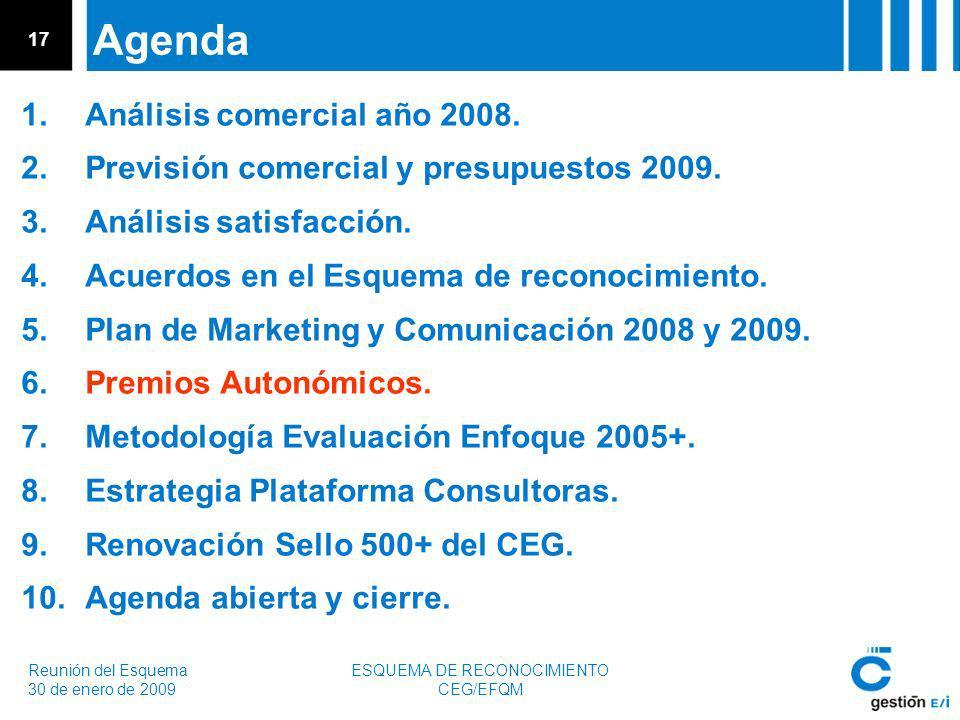 Reunión del Esquema 30 de enero de 2009 ESQUEMA DE RECONOCIMIENTO CEG/EFQM 17 Agenda 1.Análisis comercial año 2008.
