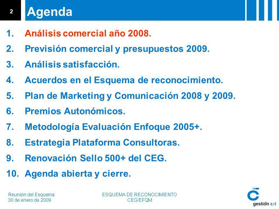 Reunión del Esquema 30 de enero de 2009 ESQUEMA DE RECONOCIMIENTO CEG/EFQM 2 Agenda 1.Análisis comercial año 2008.