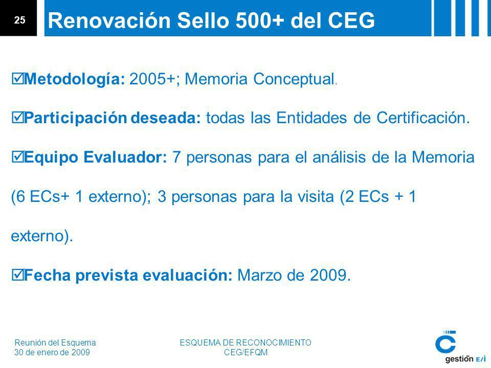 Reunión del Esquema 30 de enero de 2009 ESQUEMA DE RECONOCIMIENTO CEG/EFQM 25 Renovación Sello 500+ del CEG Metodología: 2005+; Memoria Conceptual.
