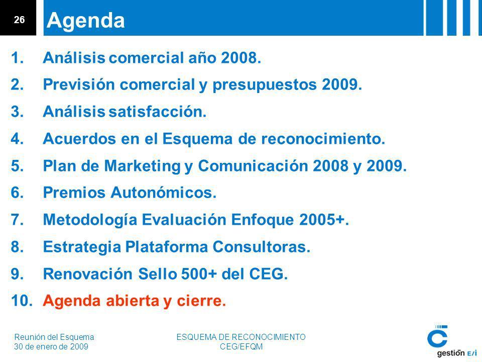 Reunión del Esquema 30 de enero de 2009 ESQUEMA DE RECONOCIMIENTO CEG/EFQM 26 Agenda 1.Análisis comercial año 2008.