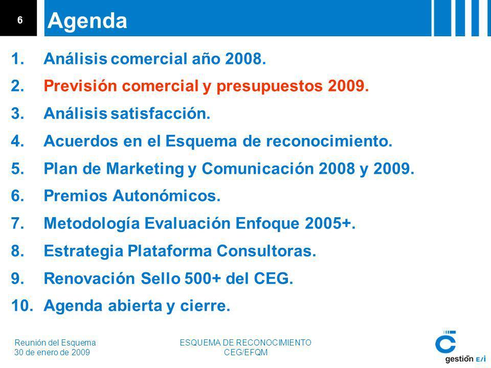 Reunión del Esquema 30 de enero de 2009 ESQUEMA DE RECONOCIMIENTO CEG/EFQM 6 Agenda 1.Análisis comercial año 2008.