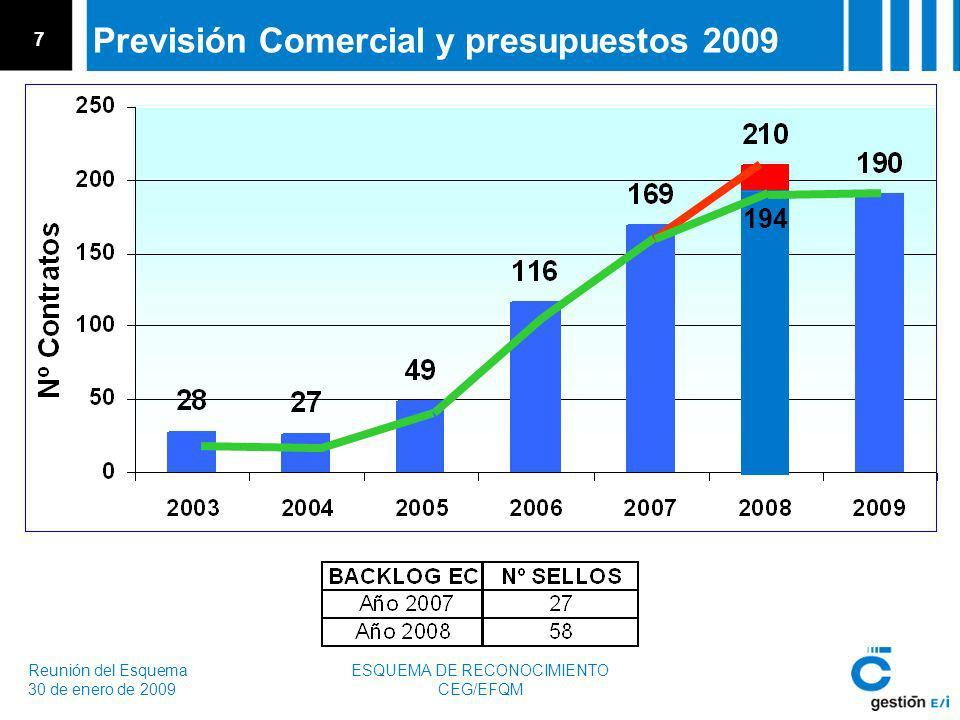 Reunión del Esquema 30 de enero de 2009 ESQUEMA DE RECONOCIMIENTO CEG/EFQM 7 Previsión Comercial y presupuestos 2009 194