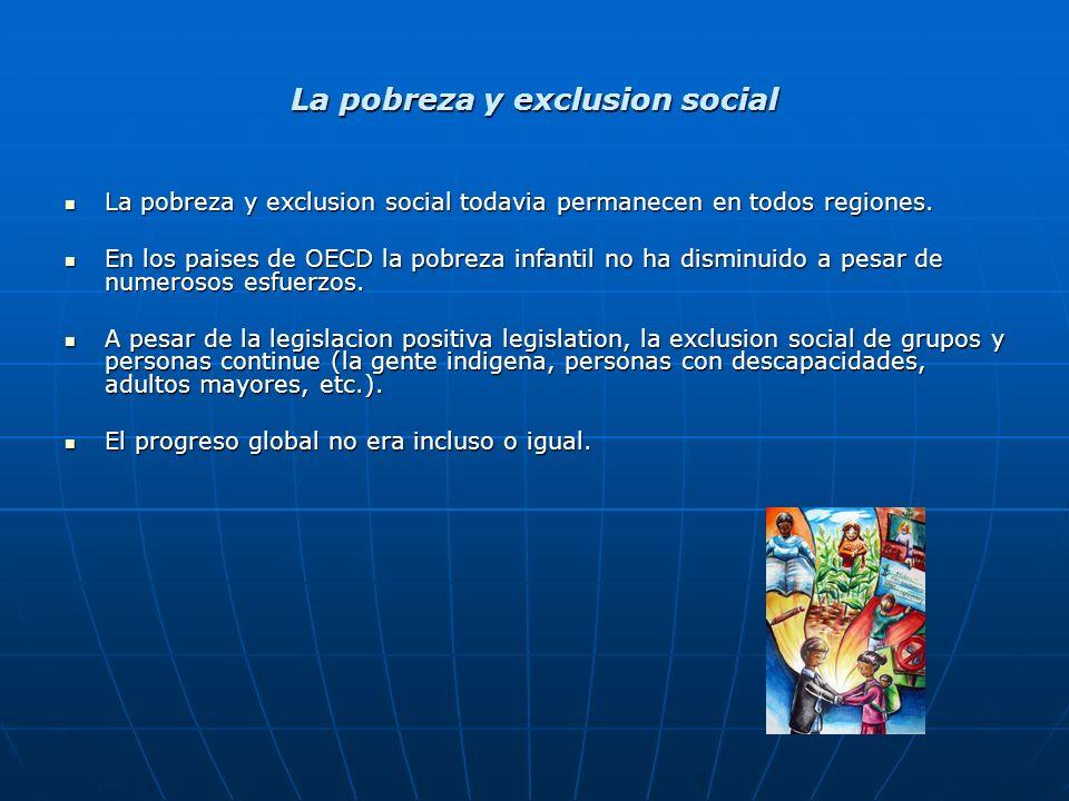 La pobreza y exclusion social La pobreza y exclusion social todavia permanecen en todos regiones.