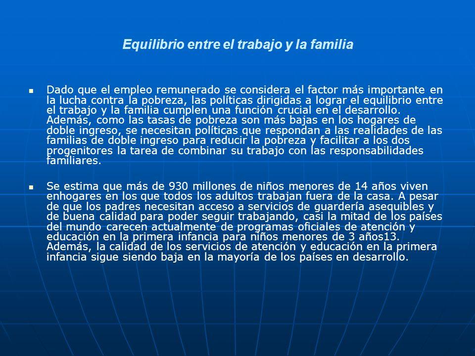 Equilibrio entre el trabajo y la familia Dado que el empleo remunerado se considera el factor más importante en la lucha contra la pobreza, las políti