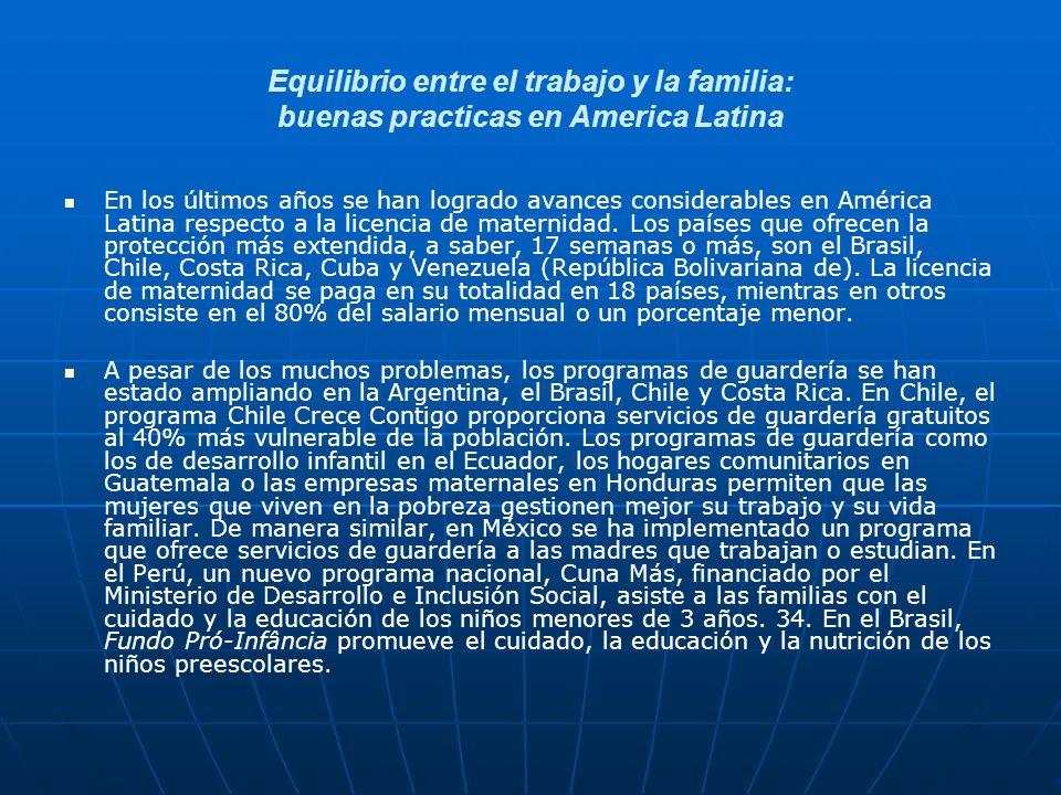 Equilibrio entre el trabajo y la familia: buenas practicas en America Latina En los últimos años se han logrado avances considerables en América Latina respecto a la licencia de maternidad.