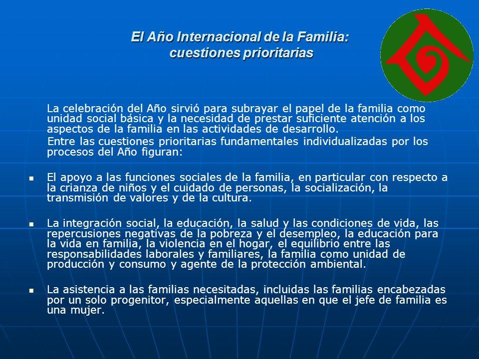 El Año Internacional de la Familia: cuestiones prioritarias La celebración del Año sirvió para subrayar el papel de la familia como unidad social básica y la necesidad de prestar suficiente atención a los aspectos de la familia en las actividades de desarrollo.