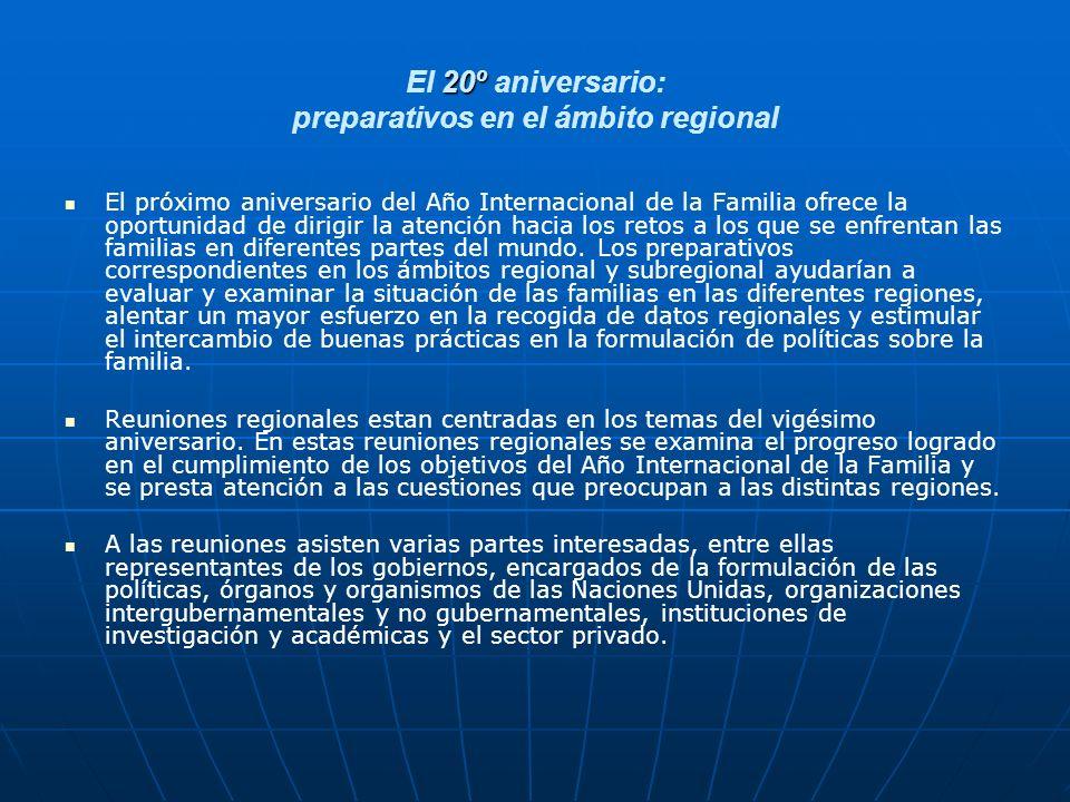 20º El 20º aniversario: preparativos en el ámbito regional El próximo aniversario del Año Internacional de la Familia ofrece la oportunidad de dirigir la atención hacia los retos a los que se enfrentan las familias en diferentes partes del mundo.