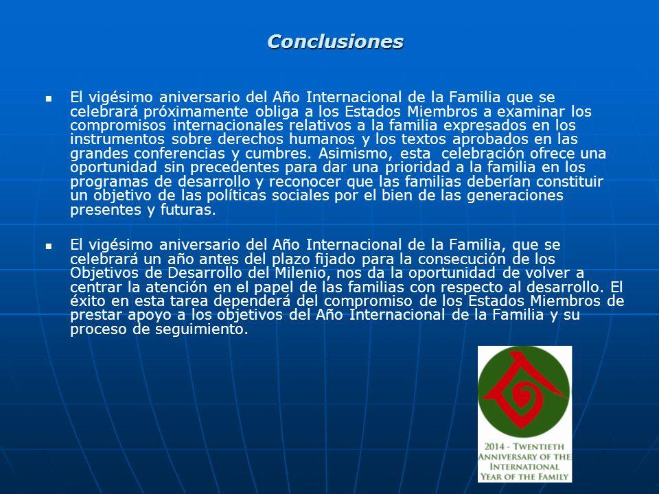 Conclusiones El vigésimo aniversario del Año Internacional de la Familia que se celebrará próximamente obliga a los Estados Miembros a examinar los compromisos internacionales relativos a la familia expresados en los instrumentos sobre derechos humanos y los textos aprobados en las grandes conferencias y cumbres.