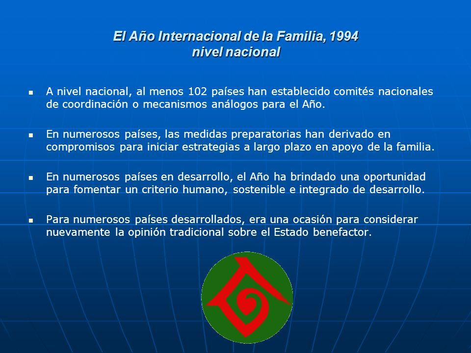 El Año Internacional de la Familia, 1994 nivel nacional A nivel nacional, al menos 102 países han establecido comités nacionales de coordinación o mecanismos análogos para el Año.