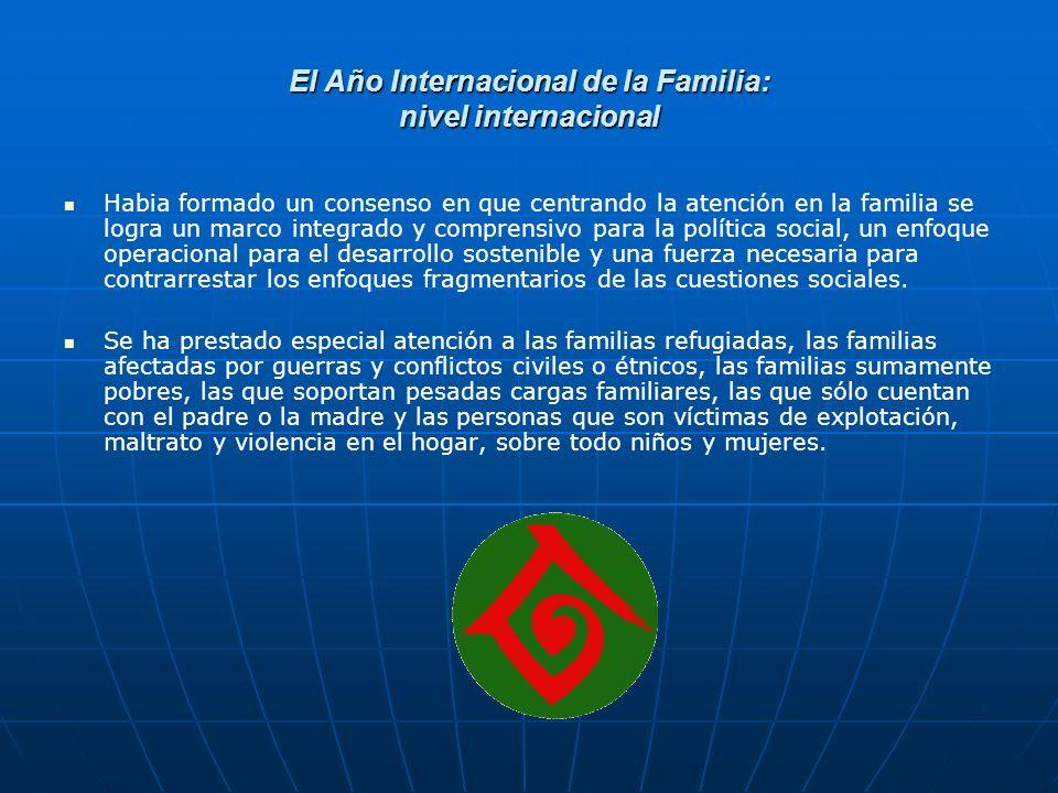 El Año Internacional de la Familia: nivel internacional Habia formado un consenso en que centrando la atención en la familia se logra un marco integra