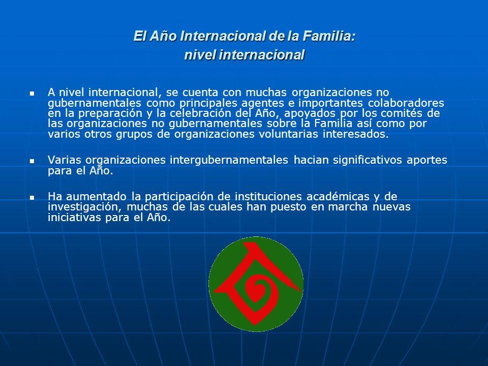 El Año Internacional de la Familia: nivel internacional A nivel internacional, se cuenta con muchas organizaciones no gubernamentales como principales