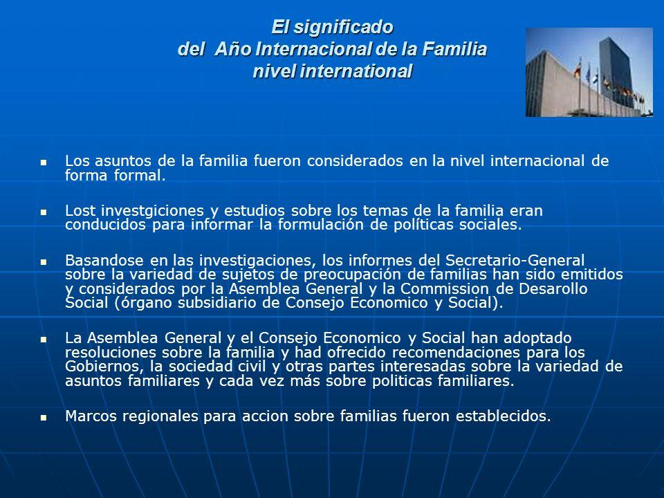 El significado del Año Internacional de la Familia nivel international Los asuntos de la familia fueron considerados en la nivel internacional de forma formal.