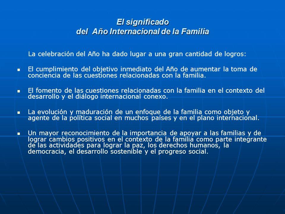 El significado del Año Internacional de la Familia La celebración del Año ha dado lugar a una gran cantidad de logros: El cumplimiento del objetivo inmediato del Año de aumentar la toma de conciencia de las cuestiones relacionadas con la familia.