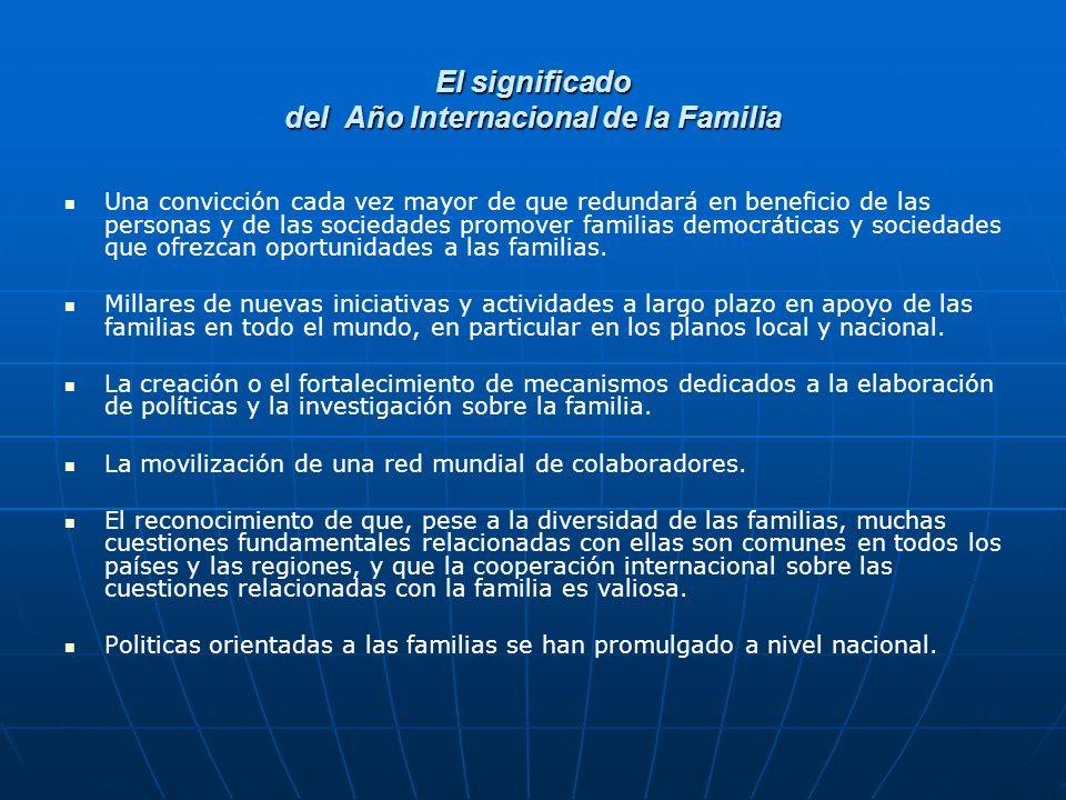 El significado del Año Internacional de la Familia Una convicción cada vez mayor de que redundará en beneficio de las personas y de las sociedades promover familias democráticas y sociedades que ofrezcan oportunidades a las familias.
