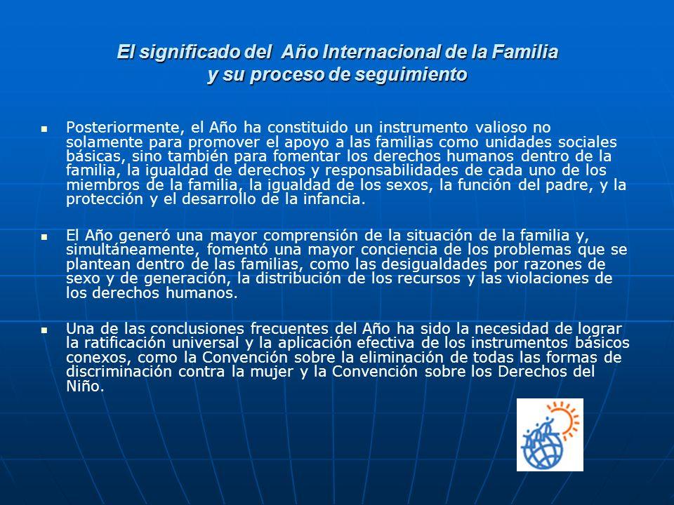 El significado del Año Internacional de la Familia y su proceso de seguimiento Posteriormente, el Año ha constituido un instrumento valioso no solamen