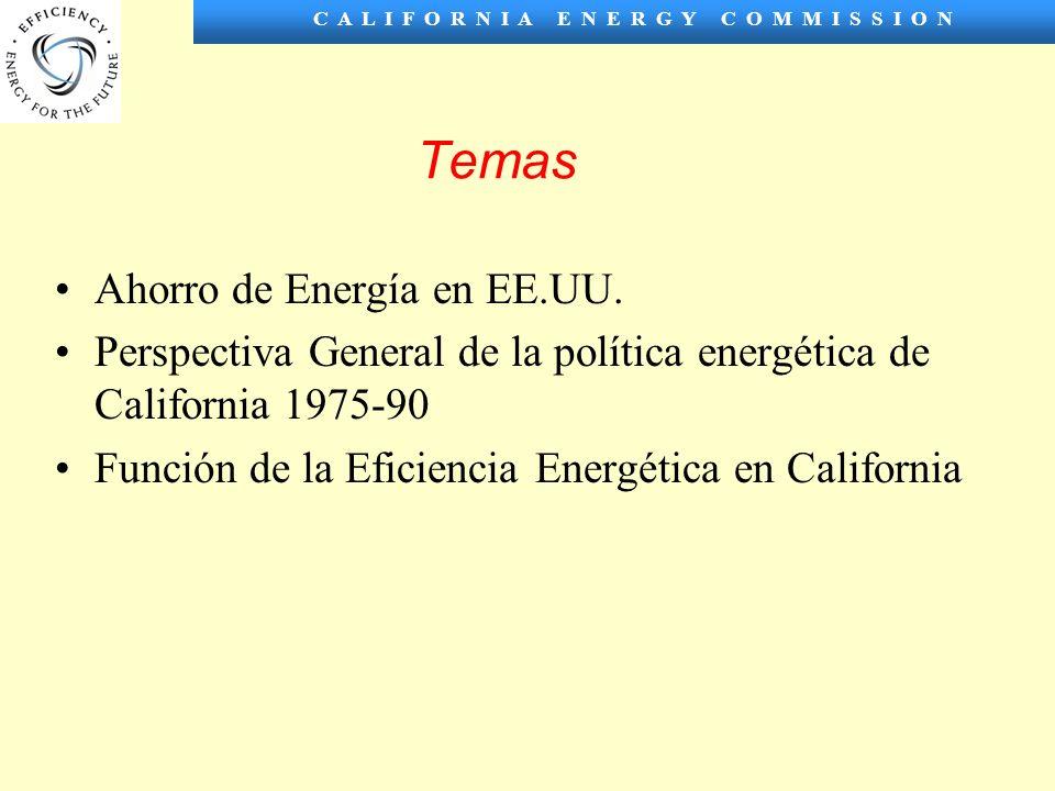 C A L I F O R N I A E N E R G Y C O M M I S S I O N Temas Ahorro de Energía en EE.UU.