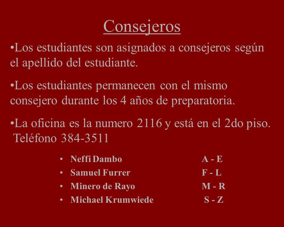Consejeros Neffi Dambo A - E Samuel Furrer F - L Minero de Rayo M - R Michael Krumwiede S - Z Los estudiantes son asignados a consejeros según el apellido del estudiante.