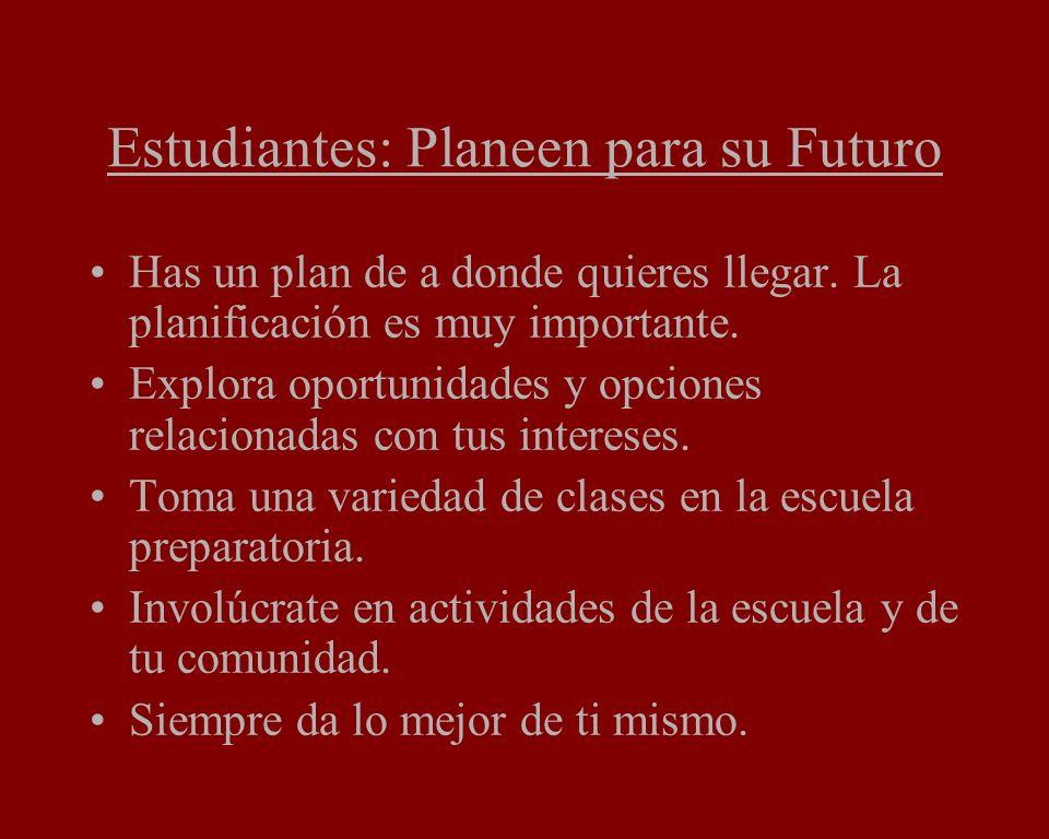 Estudiantes: Planeen para su Futuro Has un plan de a donde quieres llegar. La planificación es muy importante. Explora oportunidades y opciones relaci