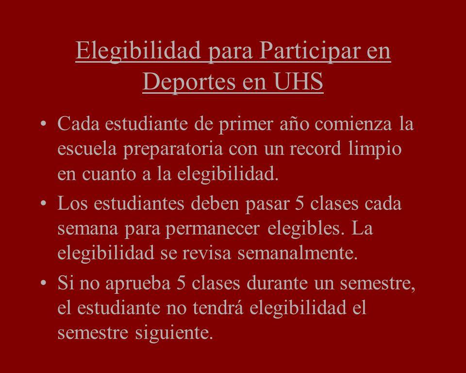 Elegibilidad para Participar en Deportes en UHS Cada estudiante de primer año comienza la escuela preparatoria con un record limpio en cuanto a la elegibilidad.