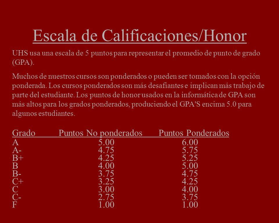 Escala de Calificaciones/Honor UHS usa una escala de 5 puntos para representar el promedio de punto de grado (GPA). Muchos de nuestros cursos son pond