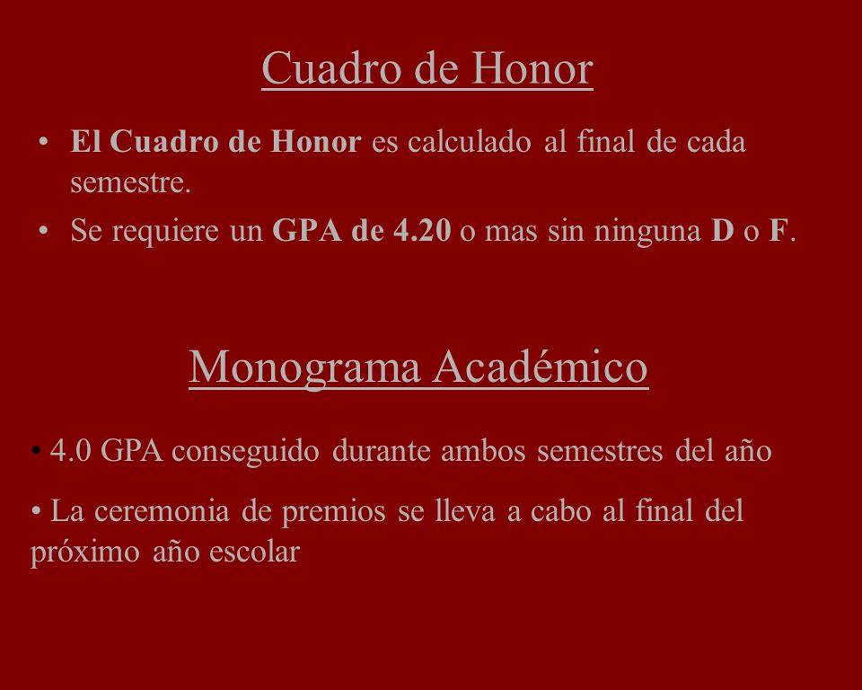 Cuadro de Honor El Cuadro de Honor es calculado al final de cada semestre. Se requiere un GPA de 4.20 o mas sin ninguna D o F. Monograma Académico 4.0