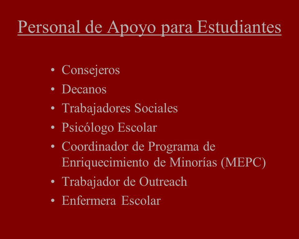Personal de Apoyo para Estudiantes Consejeros Decanos Trabajadores Sociales Psicólogo Escolar Coordinador de Programa de Enriquecimiento de Minorías (MEPC) Trabajador de Outreach Enfermera Escolar