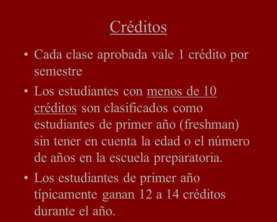 Créditos Cada clase aprobada vale 1 crédito por semestre Los estudiantes con menos de 10 créditos son clasificados como estudiantes de primer año (freshman) sin tener en cuenta la edad o el número de años en la escuela preparatoria.