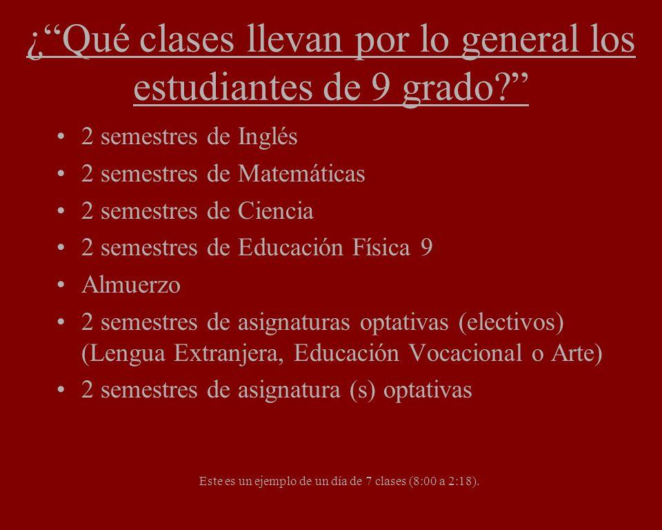 ¿Qué clases llevan por lo general los estudiantes de 9 grado? 2 semestres de Inglés 2 semestres de Matemáticas 2 semestres de Ciencia 2 semestres de E