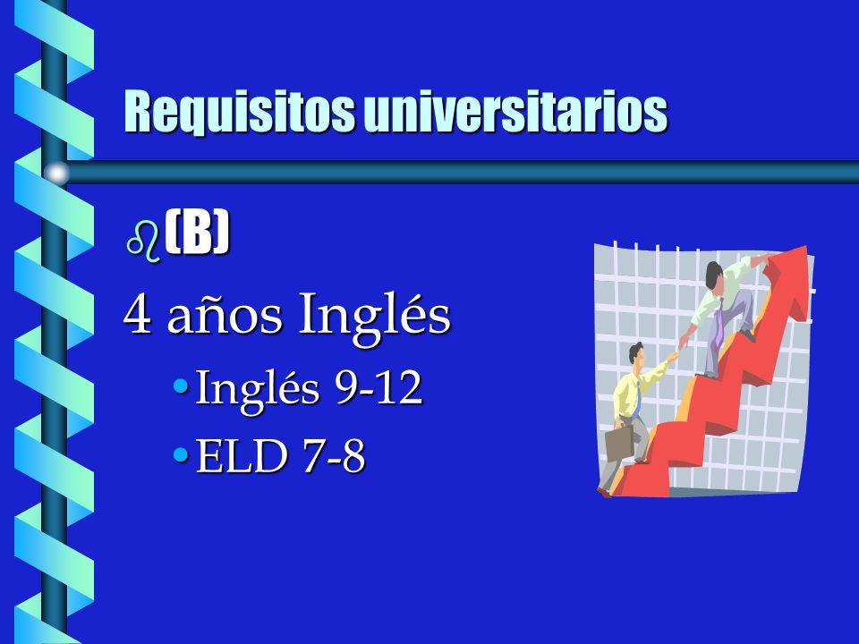 b (B) 4 años Inglés Inglés 9-12Inglés 9-12 ELD 7-8ELD 7-8
