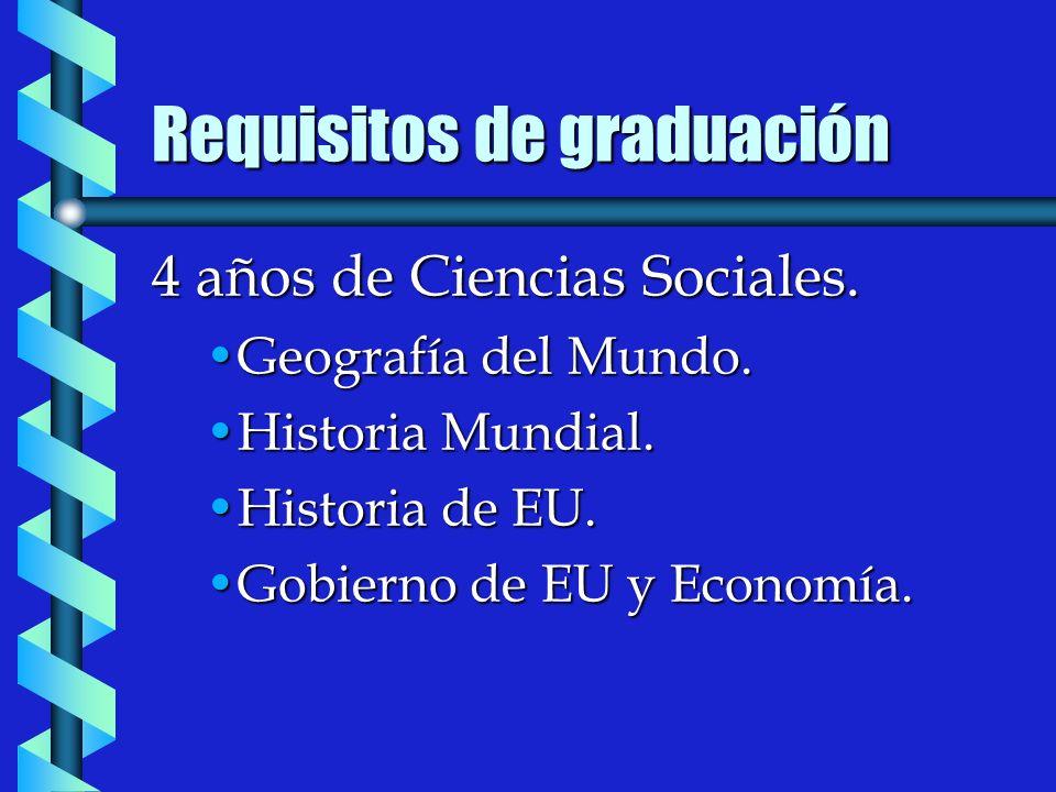 Requisitos de graduación 4 años de Ciencias Sociales.