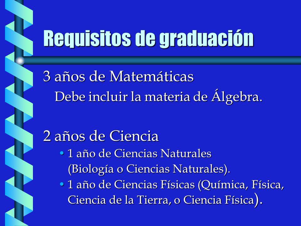 Requisitos de graduación 3 años de Matemáticas Debe incluir la materia de Álgebra.