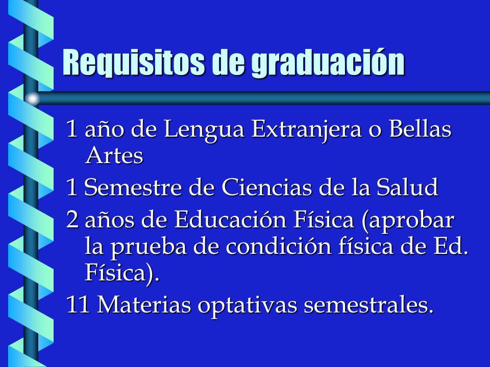 Requisitos de graduación 1 año de Lengua Extranjera o Bellas Artes 1 Semestre de Ciencias de la Salud 2 años de Educación Física (aprobar la prueba de condición física de Ed.