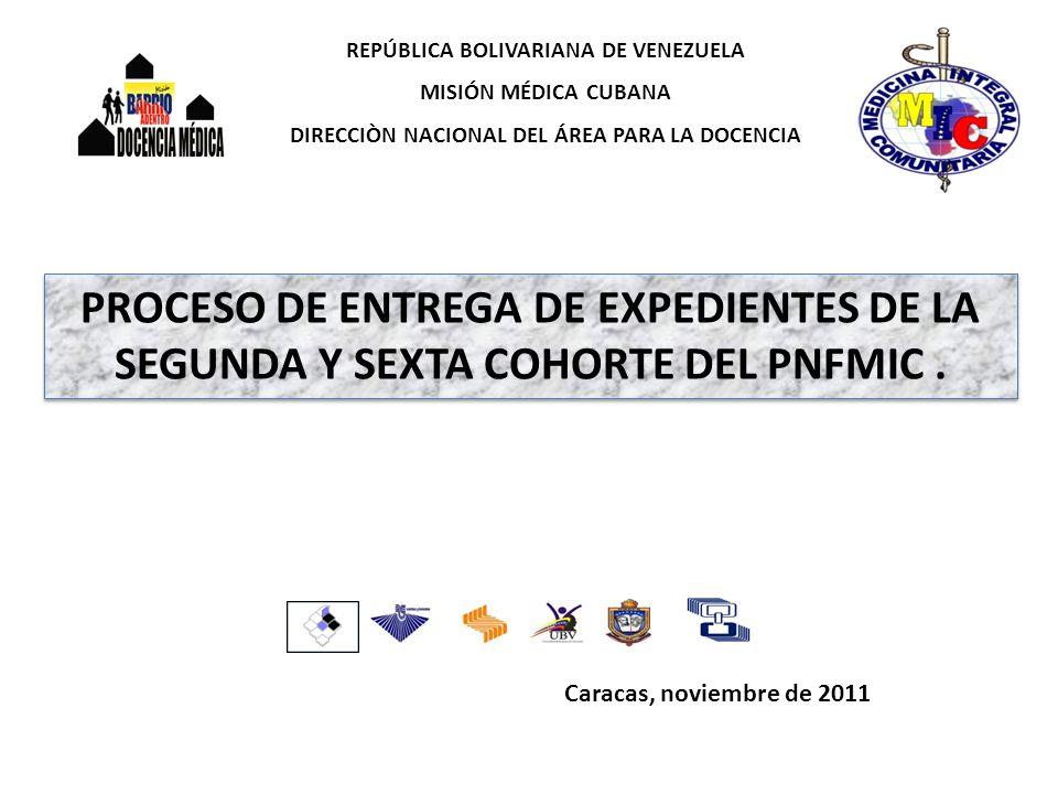 Caracas, noviembre de 2011 REPÚBLICA BOLIVARIANA DE VENEZUELA MISIÓN MÉDICA CUBANA DIRECCIÒN NACIONAL DEL ÁREA PARA LA DOCENCIA PROCESO DE ENTREGA DE