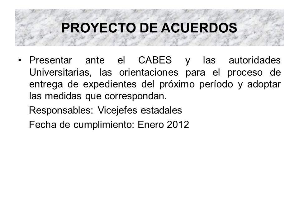 PROYECTO DE ACUERDOS Presentar ante el CABES y las autoridades Universitarias, las orientaciones para el proceso de entrega de expedientes del próximo