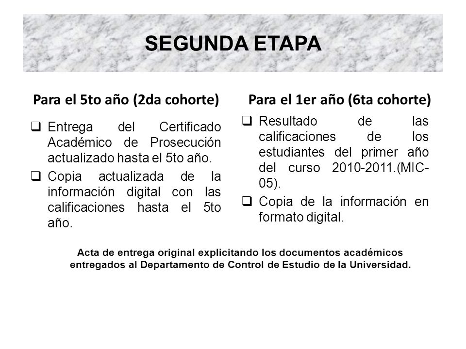 SEGUNDA ETAPA Para el 5to año (2da cohorte) Entrega del Certificado Académico de Prosecución actualizado hasta el 5to año. Copia actualizada de la inf