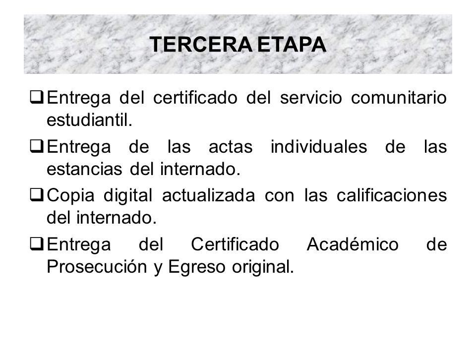 TERCERA ETAPA Entrega del certificado del servicio comunitario estudiantil. Entrega de las actas individuales de las estancias del internado. Copia di