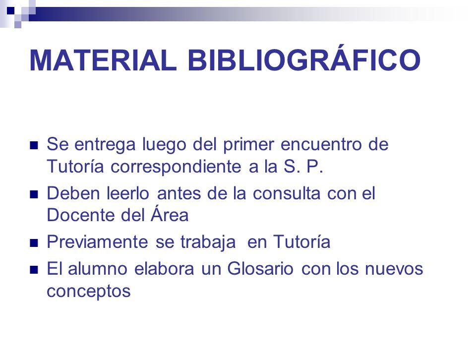 MATERIAL BIBLIOGRÁFICO Se entrega luego del primer encuentro de Tutoría correspondiente a la S.