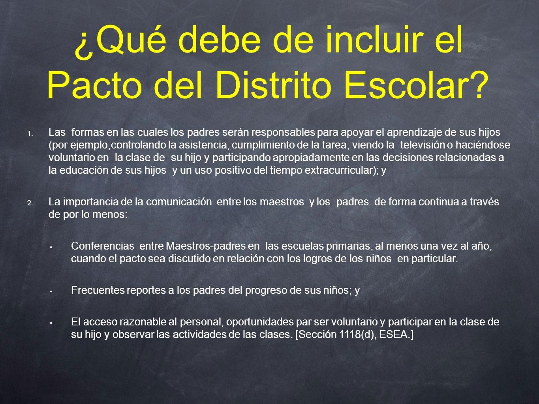 ¿Qué debe de incluir el Pacto del Distrito Escolar.