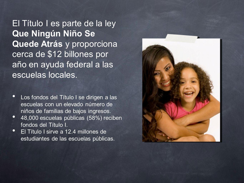 El Título I es parte de la ley Que Ningún Niño Se Quede Atrás y proporciona cerca de $12 billones por año en ayuda federal a las escuelas locales.